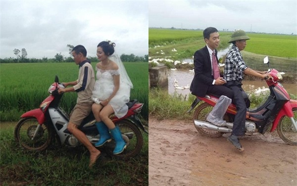 Cặp đôi cô dâu chú rể đang hot trên mạng xã hội vì đi ủng để đến với nhau.