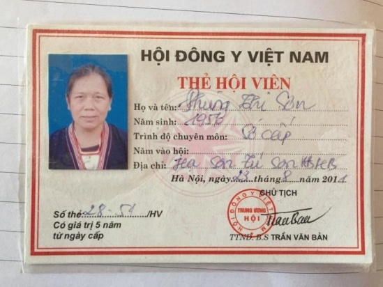 Thẻ hội viên Hội đông y của lương y Phùng Thị Sơn.