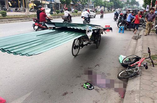 Vì mải đạp xe và trêu đùa với bạn, em Hoàng không may đâm vào đúng đầu nhọn của tấm tôn gây chảy máu và tử vong sau đó.
