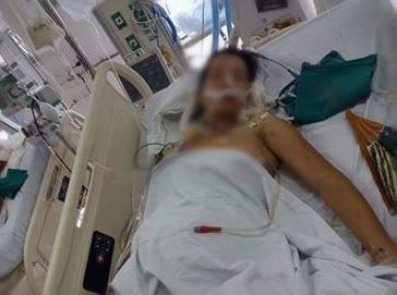 Chị Nguyễn Thị Hường đã được mổ để cứu đứa con trong bụng. Ảnh: FBNV.
