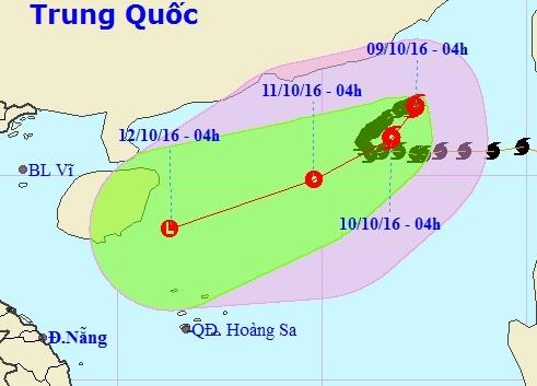 Bão số 6 có thể suy yếu thành áp thấp nhiệt đới khi tiến sát quần đảo Hoàng Sa. Ảnh:NHCMF.