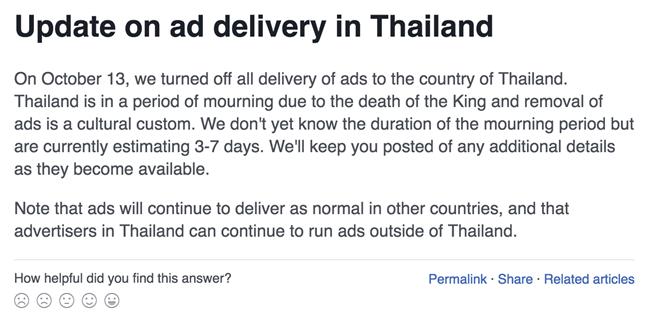 Thông báo từ Facebook đến những khách hàng mua quảng cáo tại Thái Lan.