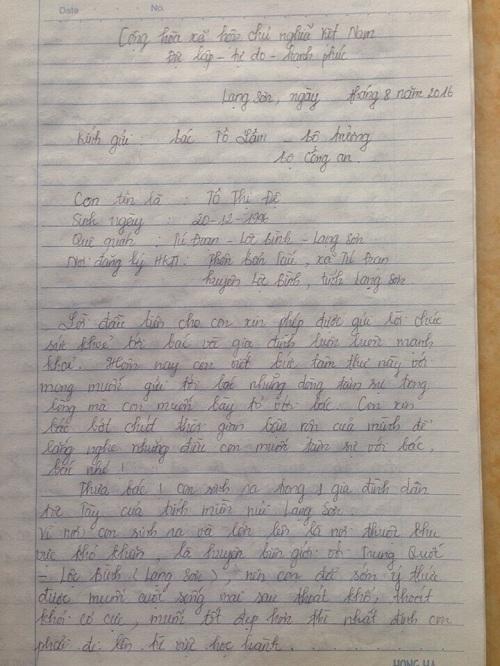 Tâm thư gửi Bộ trưởng Bộ Công an của nữ sinh Tô Thị Đệ.
