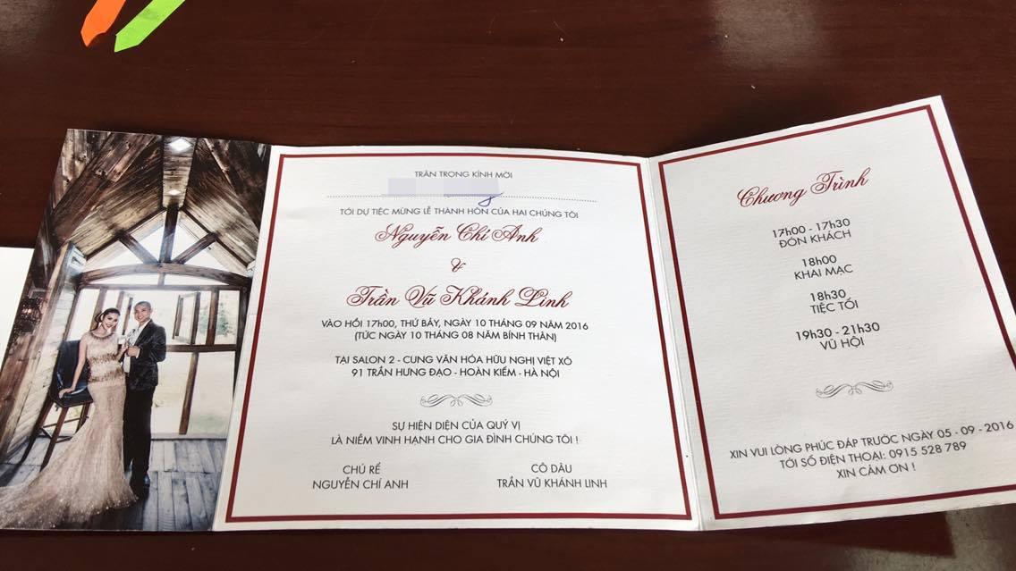 Thiệp cưới của Chí Anh - Khánh Linh. Ảnh: HTL.