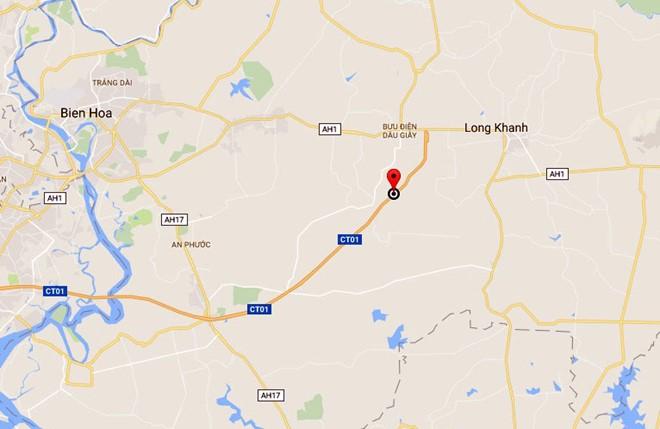 Tai nạn xảy ra trên tuyến cao tốc TP.HCM - Long Thành - Dầu Giây, đoạn thuộc địa bàn huyện Cẩm Mỹ (Đồng Nai). Ảnh: Google Maps.