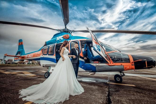 DJ Wang Trần chia sẻ anh đã mất nhiều thời gian cùng êkíp lên ý tưởng cho bộ ảnh cưới. Những bức ảnh bên trực thăng là một phần câu chuyện anh muốn kể trong bộ ảnh có chủ đề Rủ nhau đi trốn.