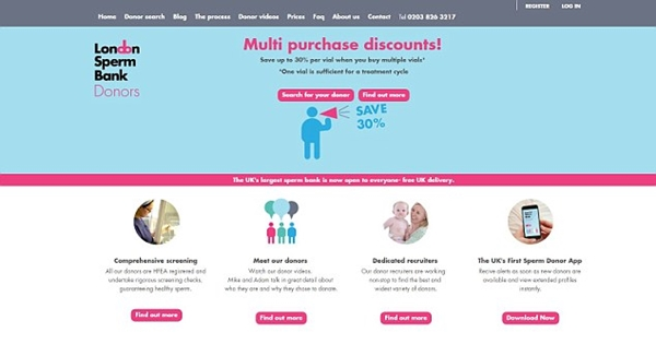 Ngân hàng tinh trùng London cho biết dịch vụ £950 là hình thức đầu tiên giúp phụ nữ tìm kiếm cha cho con thông qua ứng dụng điện thoại.