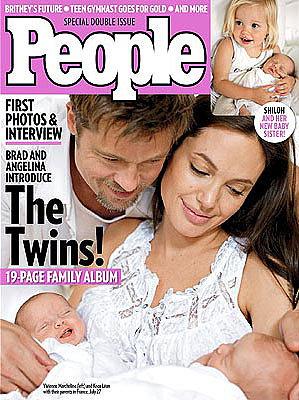 Hình ảnh cặp song sinh lần đầu được công bố trên bìa tạp chí People vào tháng 8/2008. Angelina đã hạ sinh hai con vào tháng 7 ở Nice (Pháp).