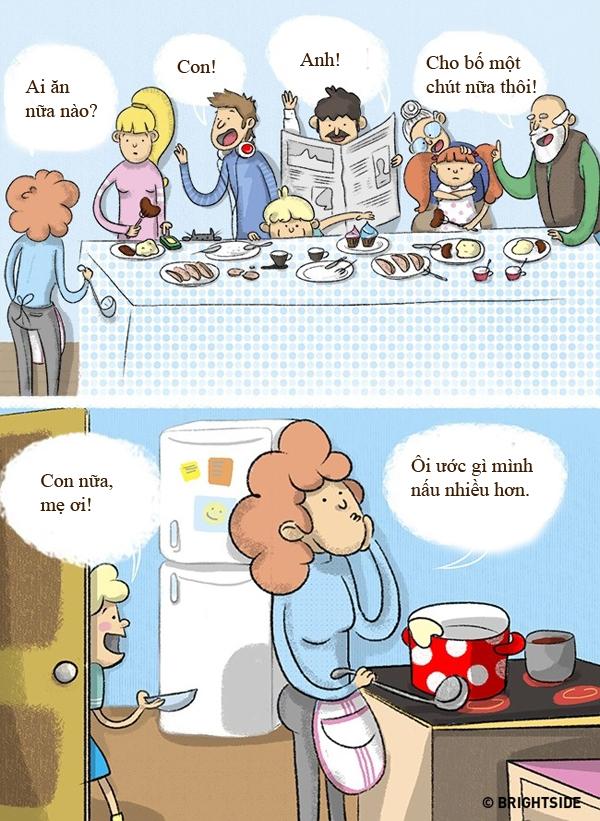Thỉnh thoảng, đầu bếp vẫn ước lượng sai khẩu phần ăn của cả nhà.