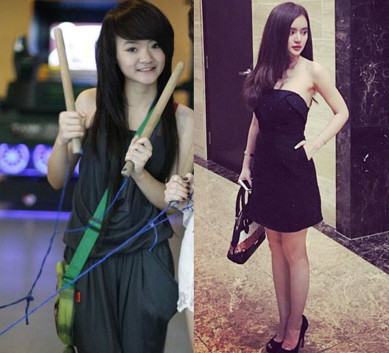 Từ một thiếu nữ có gu ăn mặc bình thường, Phương Trang thay đổi 180 độ sang gợi cảm.