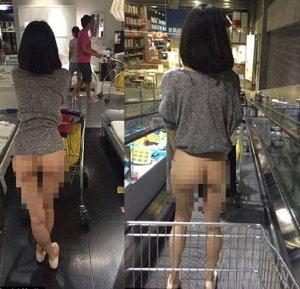 Hình ảnh phản cảm của một cô gái trẻ đi siêu thị màquên quần khiến cư dân mạng đỏ mặt tía tai.
