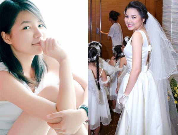 Ngô Quỳnh Anh thuở đi hát và trong đám cưới năm 2014.