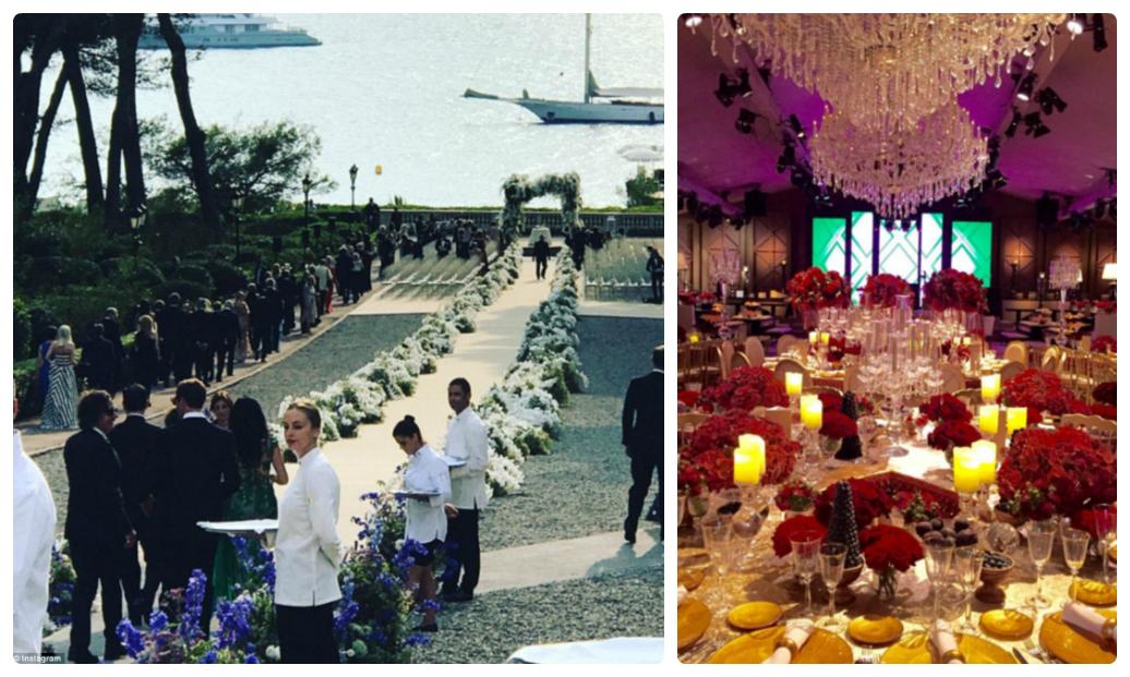 Lối đi được trang trí phủ đầy hoa cùng không gian tiệc cưới trang hoàng lộng lẫy.