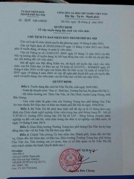 Quyết định 3215 do Chủ tịch Nguyễn Đức Chung ký tuyển dụng đặc cách vợ Đại tá Trần Quang Khải.
