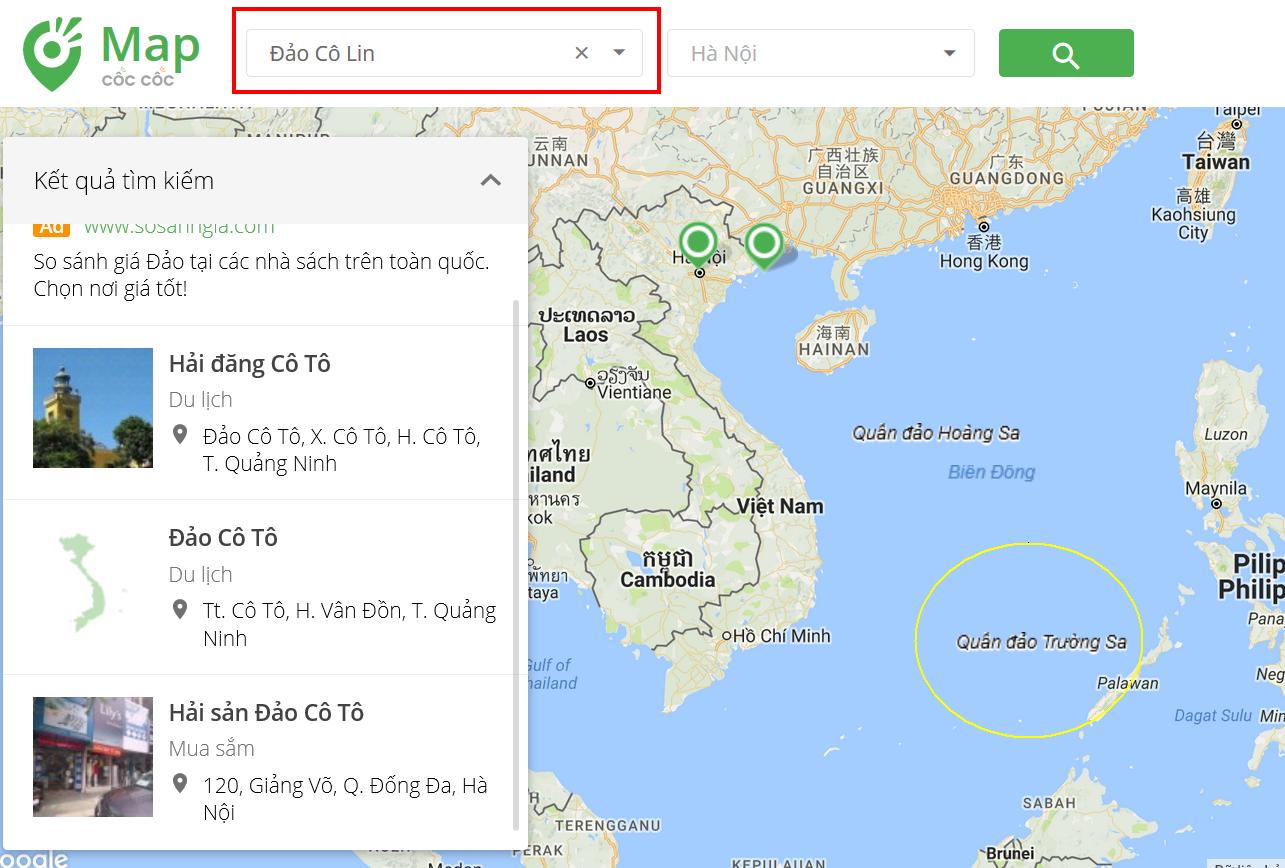 Những hòn đảo thiêng liêng của Tổ quốc không bao giờ tìm được trên bản đồ Cốc Cốc.