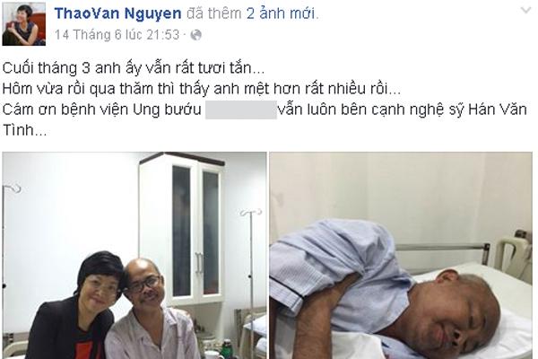 MC Thảo Vân đã chia sẻ tình hình sức khỏe hiện tại của NS Hán Văn Tình.