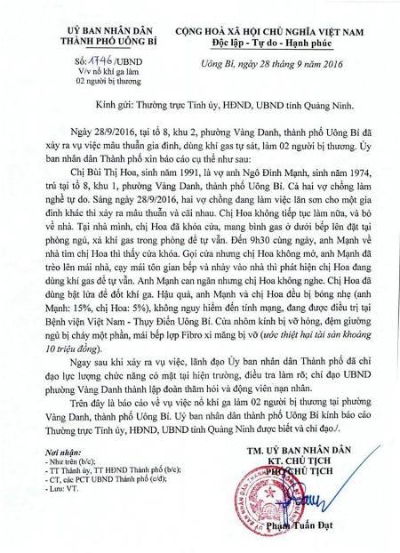 UBND TP Uông Bí báo cáo sự việc xảy ra tại gia đình chị Hoa. Ảnh: Đ. Tuỳ