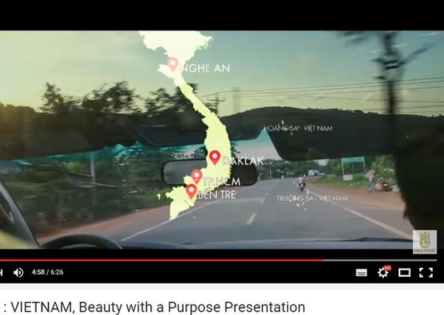 Hình ảnh bản đồ Việt Nam được đưa vào clip.Ảnh chụp màn hình