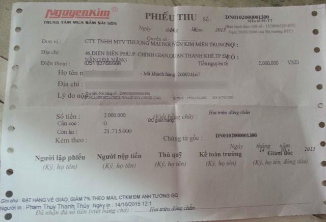 Phiếu thu tiền của Nguyễn Kim Đà Nẵng. Ảnh Đức Hoàng