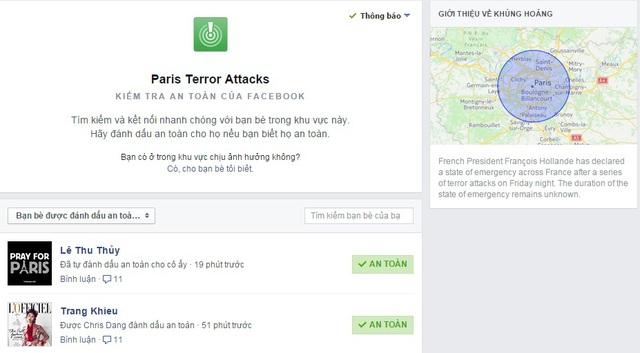 Cách biết người thân ở Paris vẫn an toàn. Trong ảnh, người mẫu Trang Khiếu, đang ở Pháp được bạn bè của cô đánh dấu, cho biết tình trạng cô an toàn.