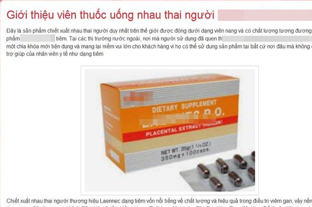 Trang web giới thiệu sản phẩm viên uống nhau thai người (ảnh chụp màn hình).