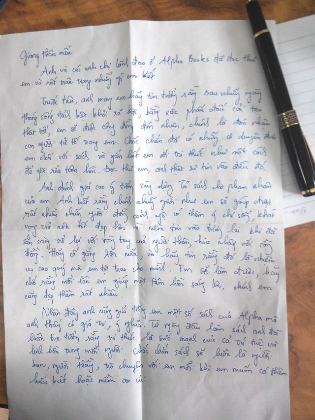 Lá thư do CEO Alpha Books gửi phạm nhân Cao Văn Giang.