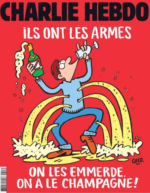 Charlie Hebdo truyền tài thông điệp tương tự với hình ảnh người đàn ông nhảy múa và uống sâm-panh. Ảnh Charlie Hebdo