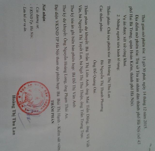 Quyết định xử phúc thẩm của TAND TP Hà Nội. Ảnh N.M