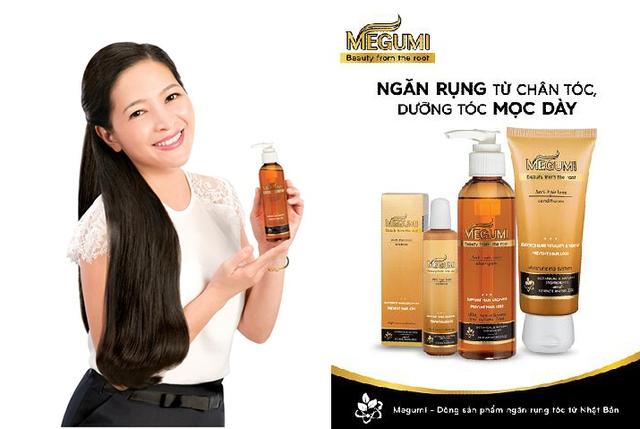 Bộ sản phẩm Megumi bao gồm: dầu gội, dầu xả, và tinh chất ngăn rụng tóc và dưỡng tóc mọc dày