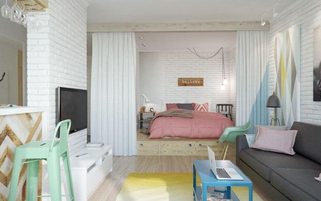 12. Trong những căn hộ nhỏ, hãy sử dụng rèm cửa làm dải phân cách giữa các phòng nhé.