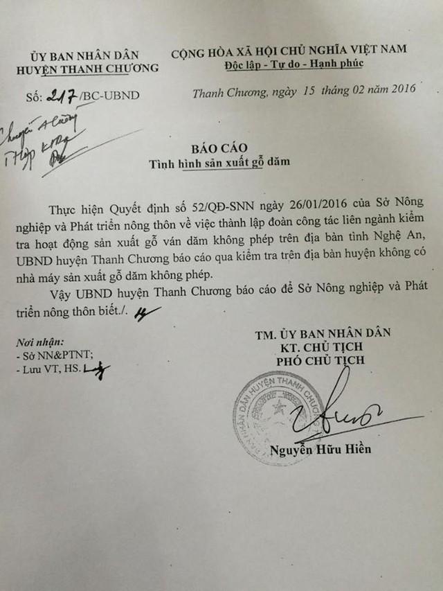 Báo cáo của UBND huyện Thanh Chương được dư luận ghi ngại về tính trung thực