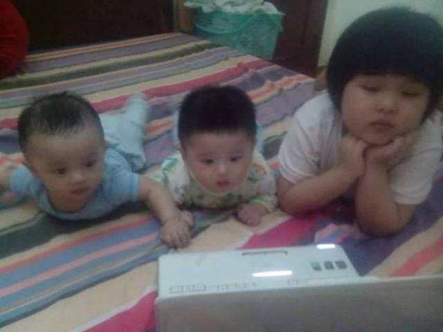 Ba đứa con thơ, động lực giúp chị Dung quên đi vát vả của cuộc sống. Ảnh: Facebook nhân vật.