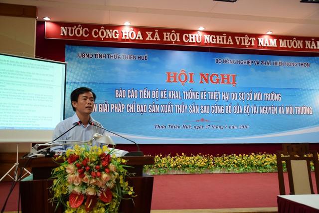 Ông Nguyễn Văn Phương – Phó Chủ tịch UBND tỉnh Thừa Thiên - Huế đưa ra ý kiến về việc hỗ trợ ngư dân. Ảnh: Lê Chung