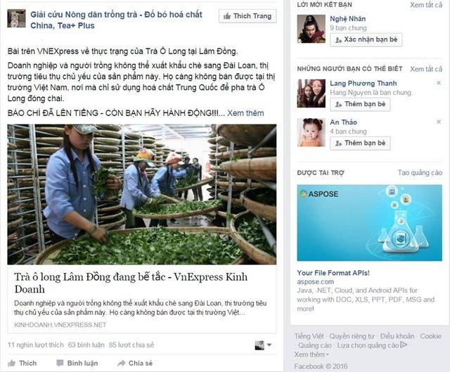 Fanpage Giải cứu nông dân trồng trà có hàng chục nghìn lượt like, bình luận và chia sẻ