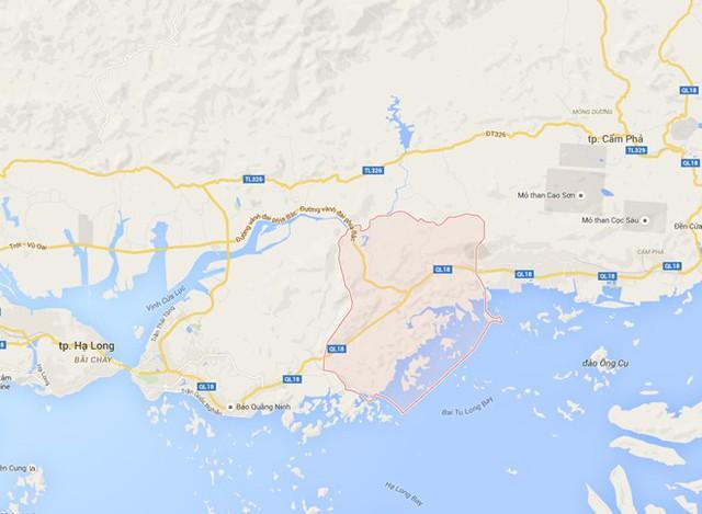 Khu vực xảy ra vụ tai nạn trên quốc lộ 18A, đoạn qua địa phận phường Quang Hanh, cách TP Cẩm Phả hơn 20 km. Ảnh: GoogleMaps.