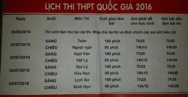 Lịch thi THPT Quốc gia năm 2016. Ảnh: Lê Chung