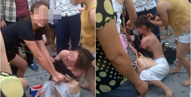 Cô gái trẻ đị đánh đập không thương tiếc (ảnh từ clip)