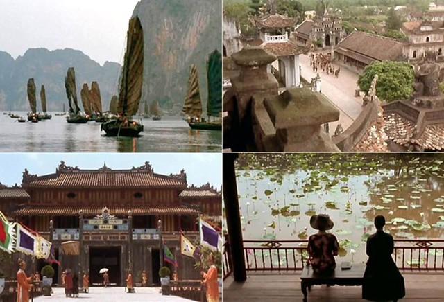 Một số cảnh quay của Đông Dương tại vịnh Hạ Long, kinh thành Huế, Lăng Tự Đức (Huế),...