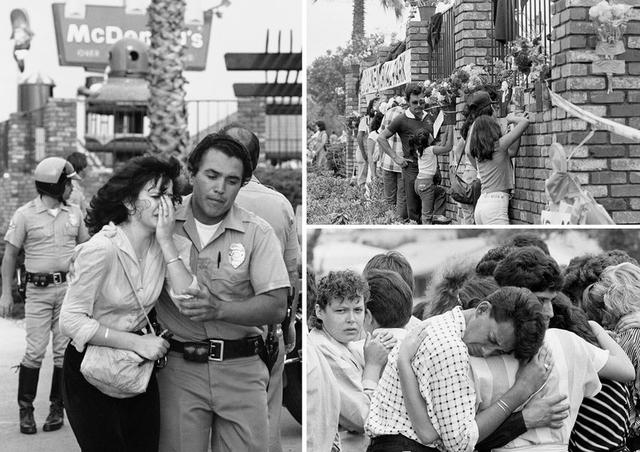 Cảnh tượng hỗn loạn sau vụ xả súng xảy ra tại nhà hàng McDonald ngày 18/7/1984 (Ảnh: David Longstreath)