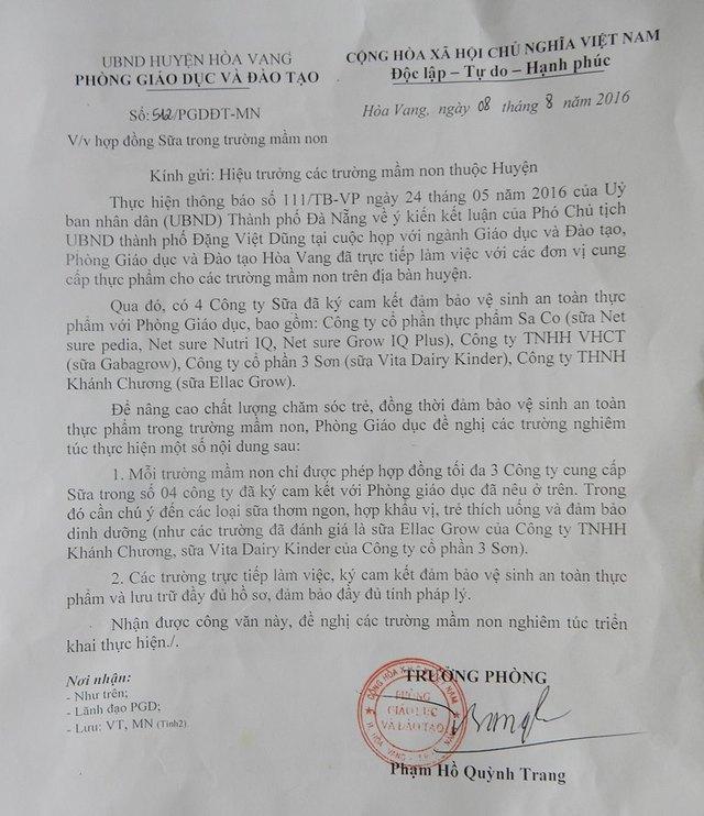 Văn bản yêu cầu các trường mầm non trên địa bàn mua sữa của Phòng GĐ&ĐT huyện Hòa Vang trước khi bị hủy. Ảnh: Đức Hoàng