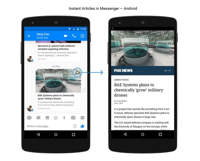 Nội dung bài báo sẽ được hiển thị nhanh hơn trong Facebook Messenger khi được gắn tính năng Instant Articles. - Nguồn: Facebook