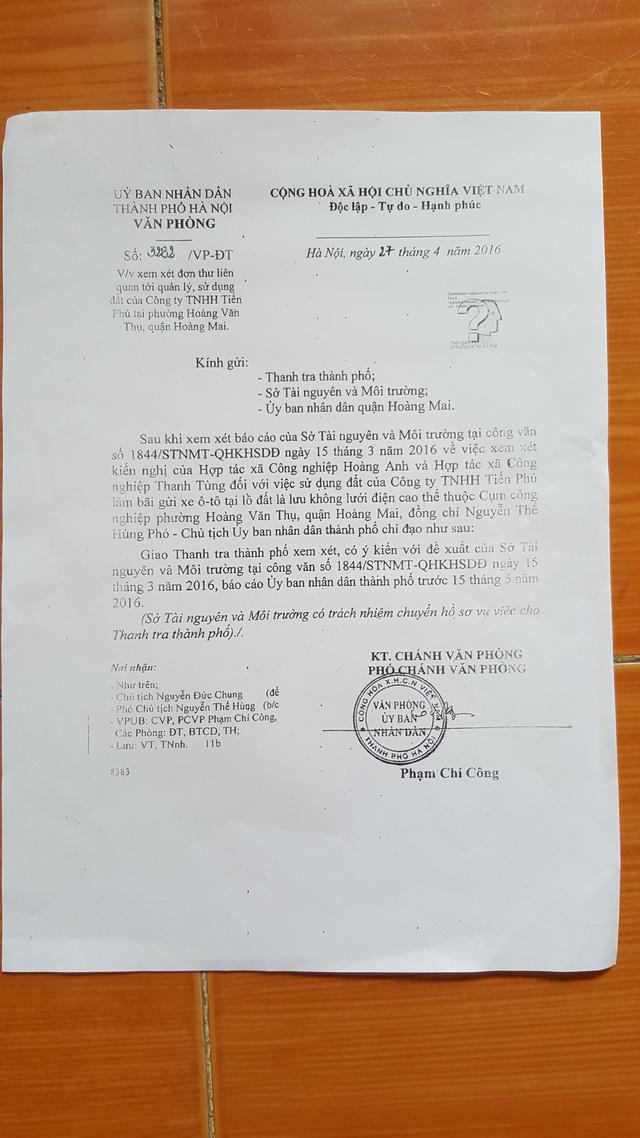 Văn bản nêu ý kiến chỉ đạo của ông Nguyễn Thế Hùng- Phó Chủ tịch UBND TP. Hà Nội. Ảnh: Hà Châu