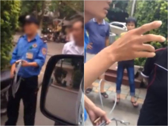Hình ảnh được cắt từ clip ghi lại cảnh tranh cãi giữa một bên là bảo vệ Bệnh viện Nhi Trung ương với một bên là người nhà và tài xế chiếc xe cấp cứu biển kiểm soát 37A-13612.