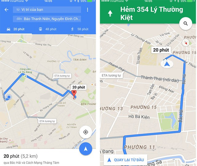 Google Maps đã có thêm khả năng dẫn đường bằng giọng nói tiếng Việt - Ảnh chụp màn hình