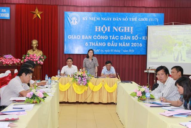 Bà Lê Thị Hoài Chung – Phó GĐ Sở Y tế, Chi cục trưởng Chi cục DS/KHHGĐ Nghệ An kết luận tại hội nghị