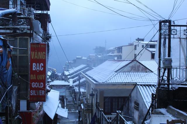 Tuyết rơi phủ trắng các mái nhà, phủ kín cây cối.