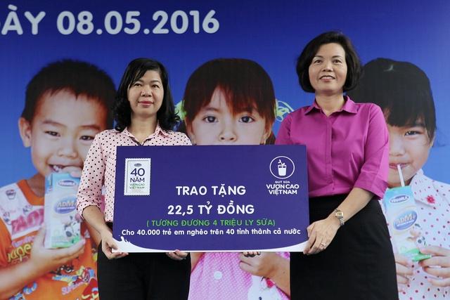 Năm 2016, nhân dịp kỷ niệm chặng đường 40 năm xây dựng và phát triển, Vinamilk và Quỹ sữa Vươn cao Việt Nam sẽ dành tặng một lượng sữa trị giá 22,5 tỉ đồng trao tặng cho 40.000 trẻ em nghèo tại 40 tỉnh thành khó khăn trên cả nước.