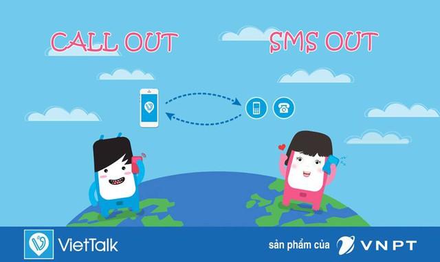 Một tính năng nổi trội khác của VietTalk là ứng dụng này hỗ trợ nhắn tin SMS, gọi điện giữa người dùng ứng dụng và thuê bao di động, cố định. Cước gọi từ ứng dụng rẻ hơn tới 40% so với cước gọi thông thường.