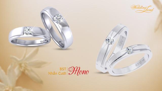 Chưa bao giờ lỗi mốt, sự đơn giản nhưng tinh tế của những chiếc nhẫn cưới trong BST Mono với thiết kế nhẫn nam và nữ giống hệt nhau vẫn được nhiều cặp đôi lựa chọn trong nhiều mùa cưới.