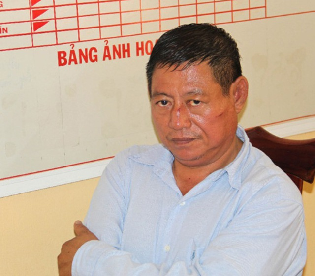 Trung tá người Campuchia Lai Bun Thi tại cơ quan chức năng tỉnh An Giang. Ảnh: VNN